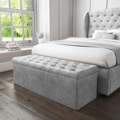 Safina Ottoman Storage Box In Grey Velvet Storage Ottoman Bedroom Ottoman Bedroom Blanket