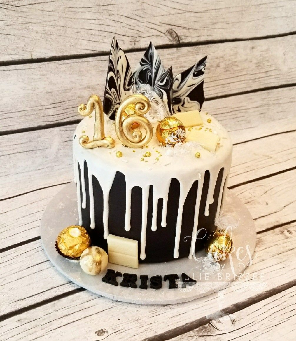 Fine Beautiful Black White And Gold Drizzle Cake See More On Fb And Ig Funny Birthday Cards Online Alyptdamsfinfo