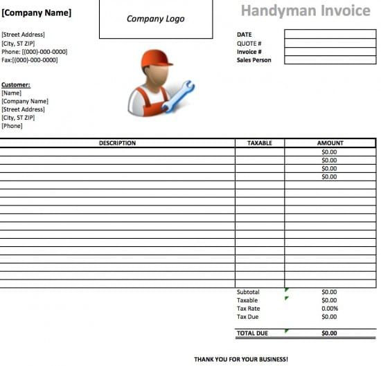 Image Result For Handyman Invoice Templates Handyman Invoices