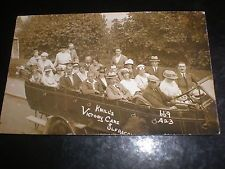 Old real photo postcard Knill's Victory Cars charabanc Ilfracombe used 1921. Sir Stuart Knill was Granny F's uncle, also Lord Mayor of London.  He was a wharfinger.