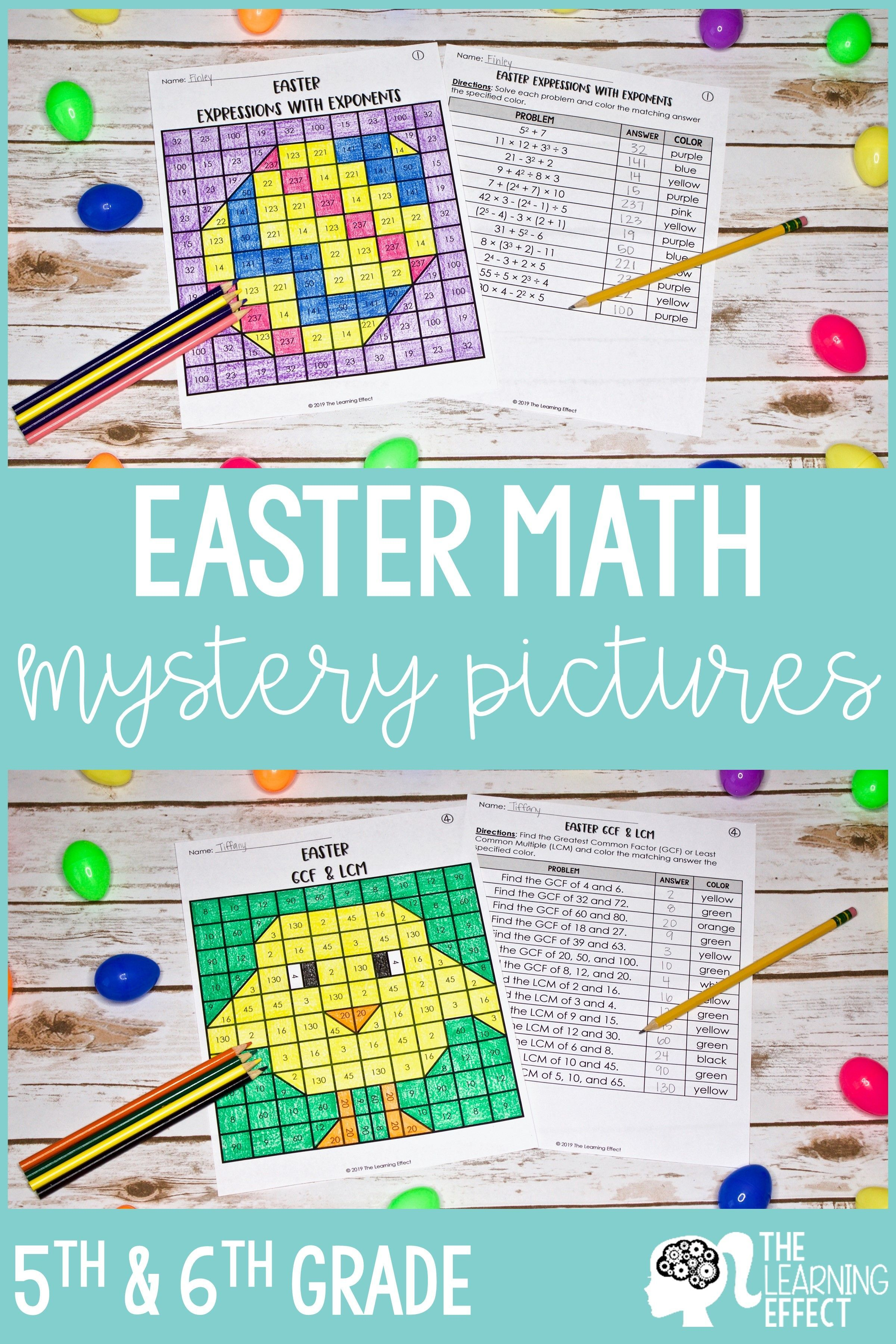 Easter Math Mystery Pictures Expressions, Powers of Ten