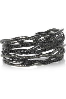 Rhodium-plated  Black Swarovski crystals  Mottled finish  Slips on