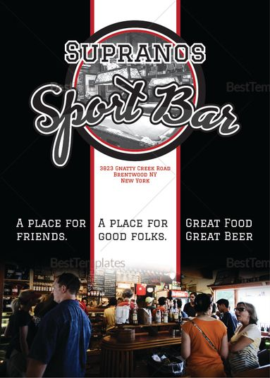 Sports Bar Menu Template  Menu Template Designs