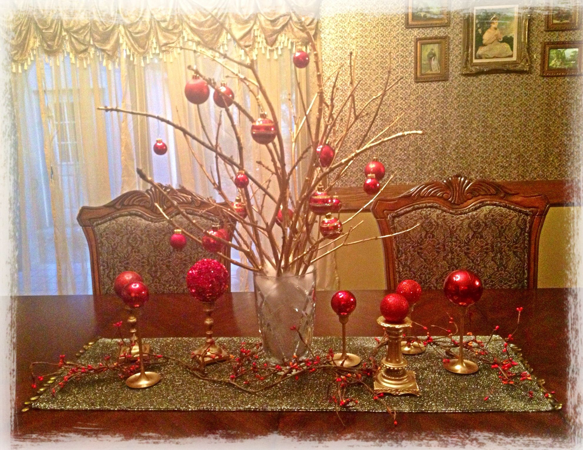 my 3 christmas table centerpiece gold spray paint and some