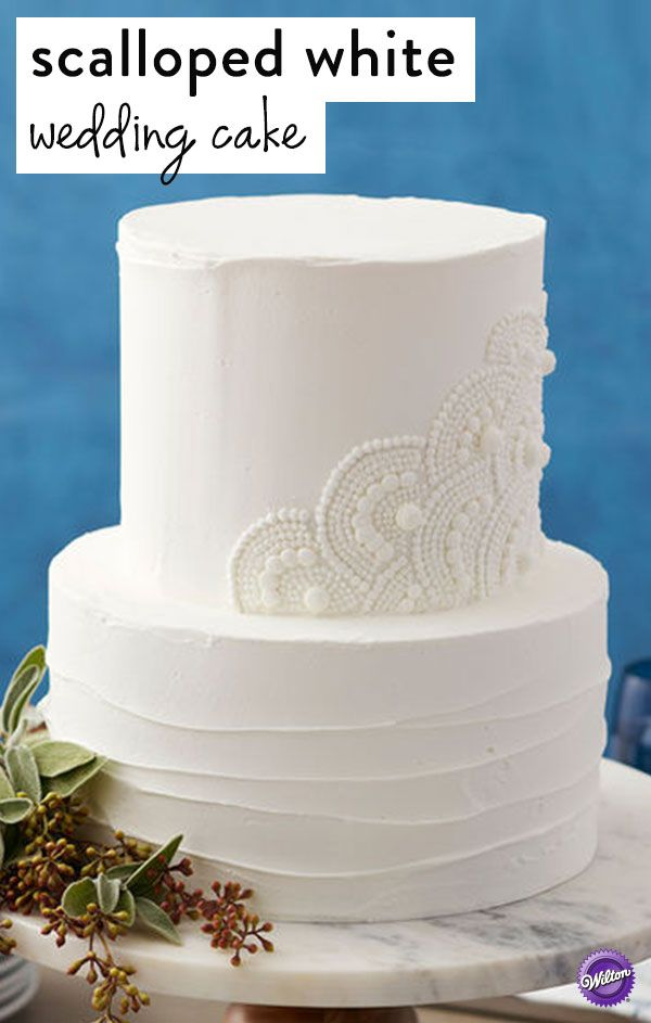 traditional white wedding cake icing this classic scalloped white wedding cake is for 21218