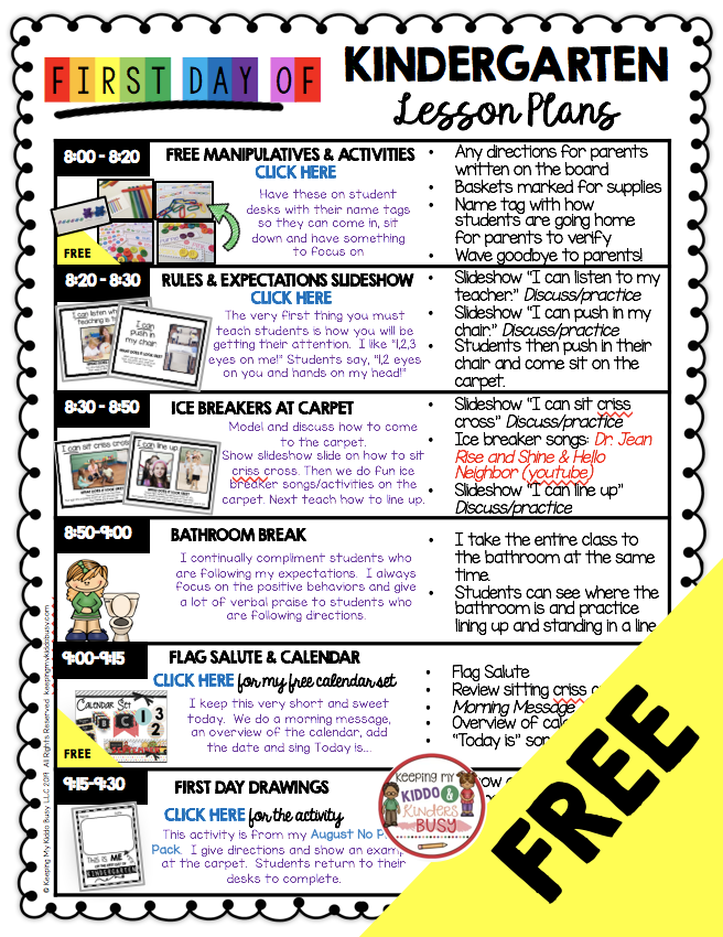 Free Kindergarten Lesson Plans For The First Day Of School Back To School Lesso Kindergarten Lessons Kindergarten Lesson Plans Free Kindergarten Lesson Plans