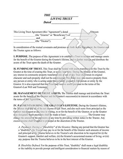 Living Trust Form - Revocable Living Trust (with Sample) ESTATE - sample living trust form