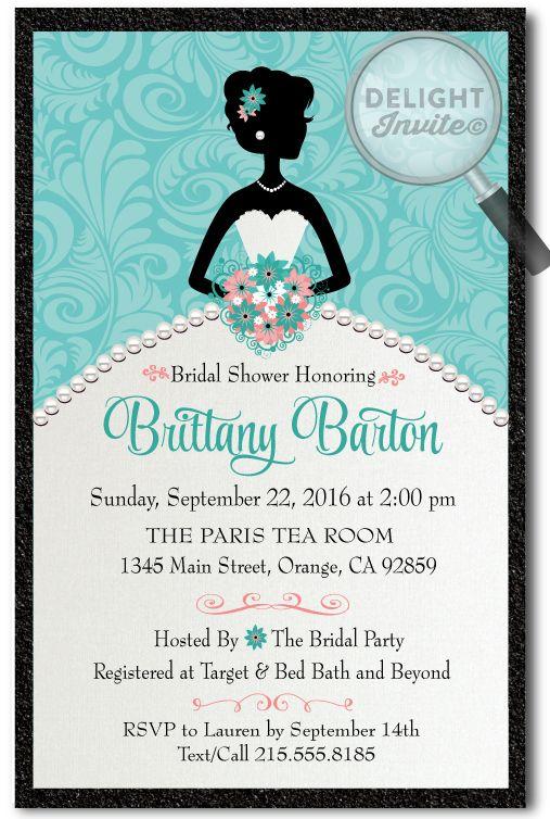 elegant wedding dress bridal shower invitations di 1503 custom