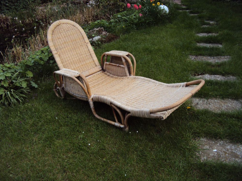 Gartenliege rattan  50er 70er Jahre Stil Holz Sessel Balkon Gartenliege Rattan ...