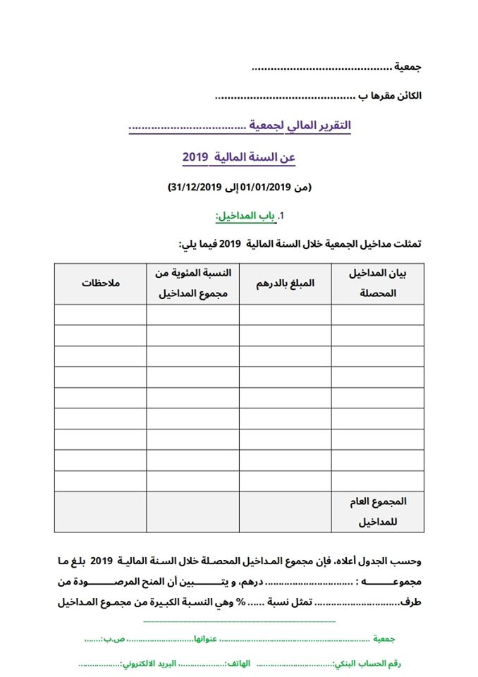 نموذج التقرير المالي للجمعية على شكل وورد قابل للتعديل Finance