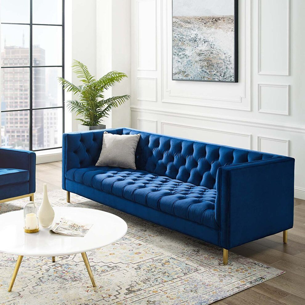 Delight Navy Sofa Eei 3455 Nav Modway Furniture Fabric Sofas In 2021 Velvet Sofa Living Room Blue Sofa Living Blue Couch Living Room
