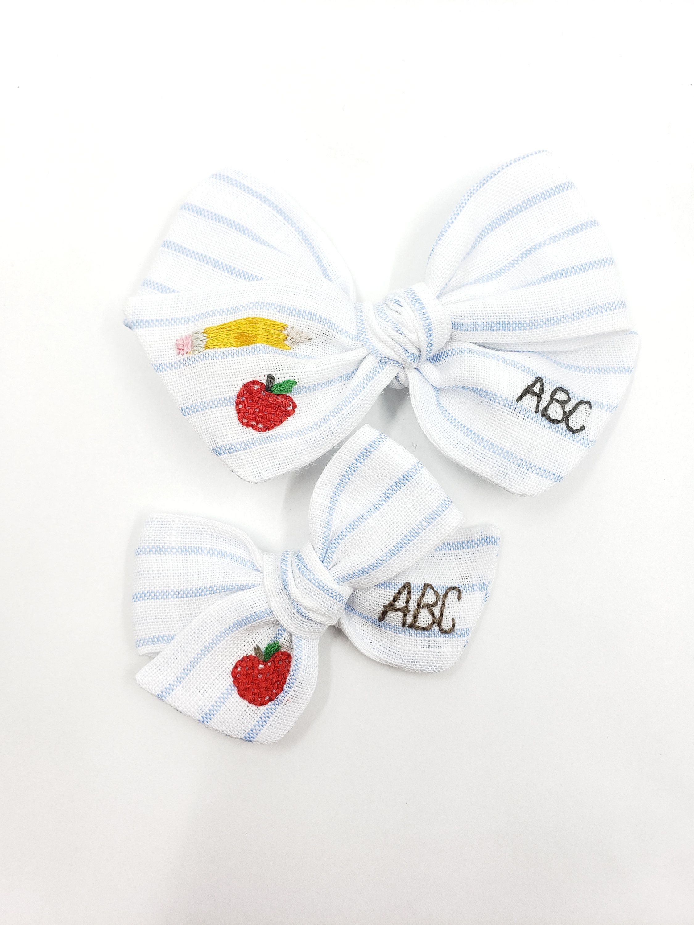 Back to school handtied hair bow | first day of school hair bow | apple hair bow | linen hair bow | fabric hair bow || teachers day