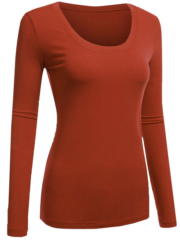 50129adeb53ce Amazon.com  Emmalise Women s Plain Basic Cotton Spandex Scoop Neck Long  Sleeve T Shirt …  Clothing