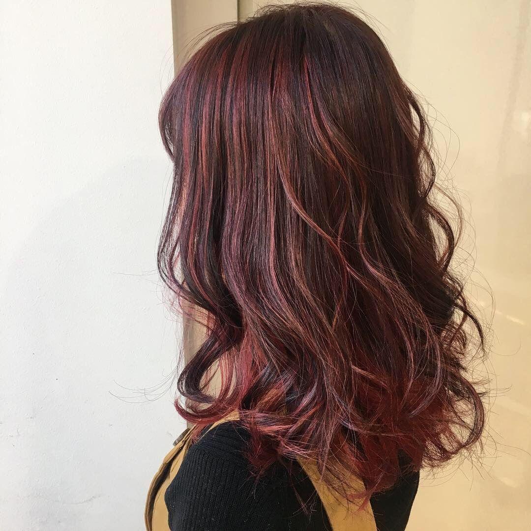 表参道erika 春先どり暖色系カラー 面長 髪型 美髪 カラフルヘア