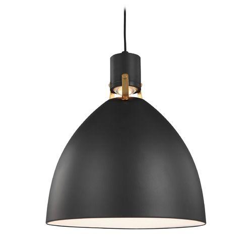 Feiss Lighting Brynne Matte Black Chrome Led Pendant Light With