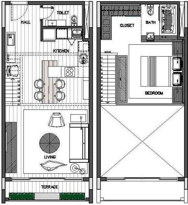 Resultado de imagem para loft pequeno planta baixa for Ap lofts