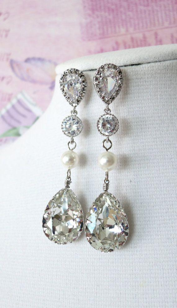 Swarovski Crystal Teardrop Earrings, Bridal Wedding Bridesmaid Earrings, Cubic Zirconia Pearl Earrings, White weddings jewelry