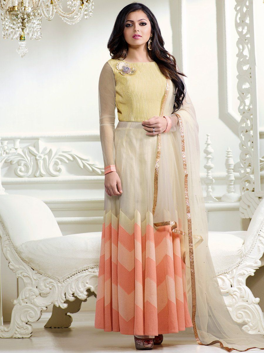 87dbf9d6dd Shop Drashti Dhami peach and lemon color net party wear anarkali kameez  online at kollybollyethnics from India with free worldwide shipping.