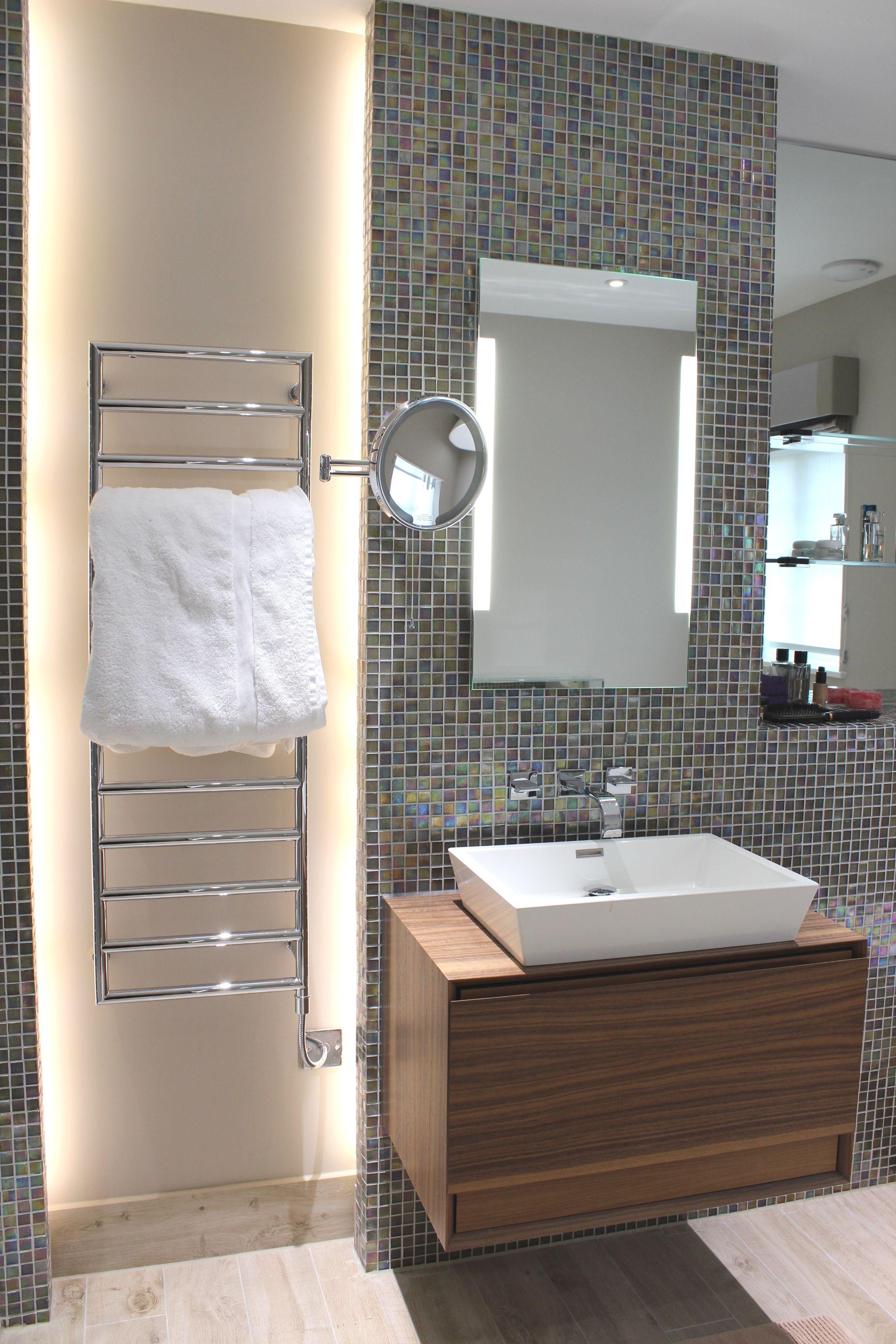 Designed By Monita Cheung Modern Bathroom Dornbracht Mem Wall Mounted Mixer Natural Walnut Vanity Unit Countertop Basin Mosaics Bespoke Mirror