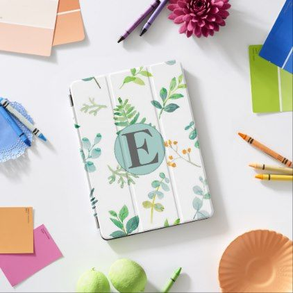 Custom Green Leaves White Monogram iPad Pro Cover | Zazzle.com