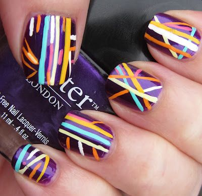 Who let the dot in – who, who, who…? nail art with stripes and a naughty dot!