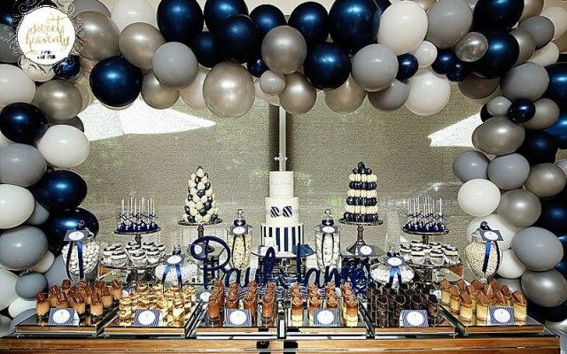 Navy Blue And Gold Sweets Table Google Search Blue Party Decorations White Party Decorations Blue Birthday Parties