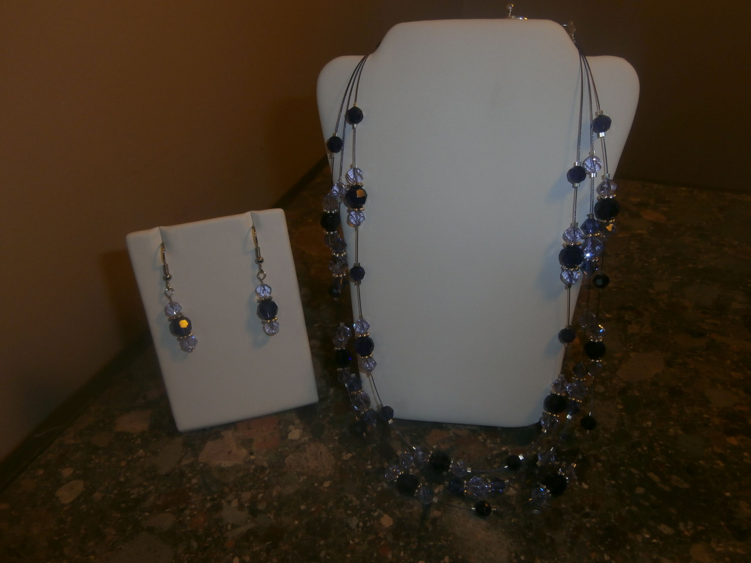 Swarovski triple wired necklace and earring set