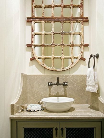 Powder Room By Amy Kartheiser Design: Repurposed Ornamental Iron Mirrors (With Images)
