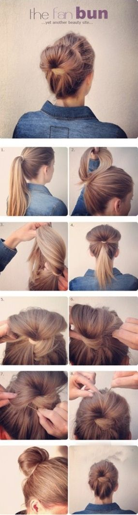 Fan Bun  Click image to find more Hair & Beauty Pinterest pins  Fan Bun  Click i…