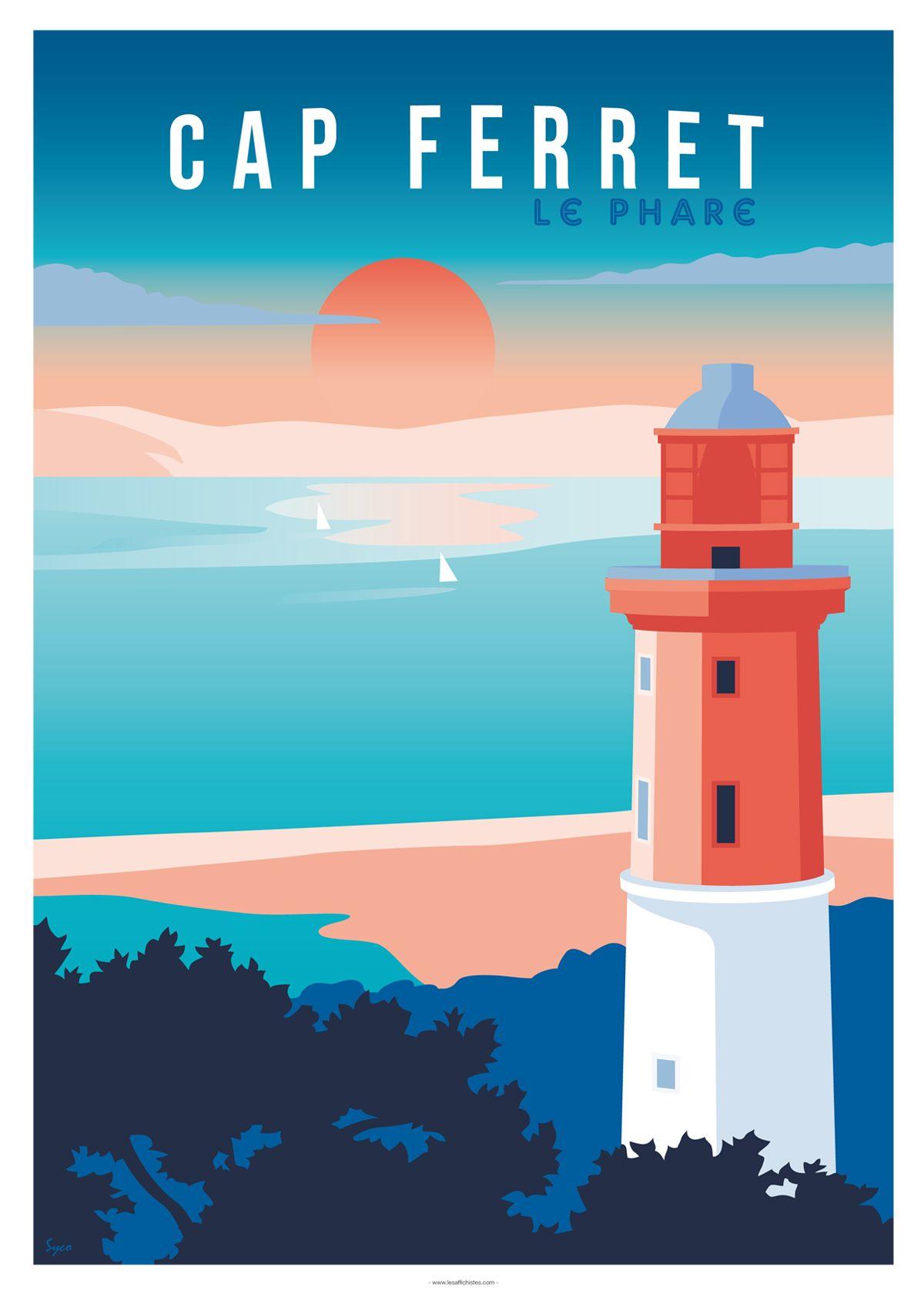 Affiche Cap Ferret Le Phare Et Le Bassin Affiches De Voyage