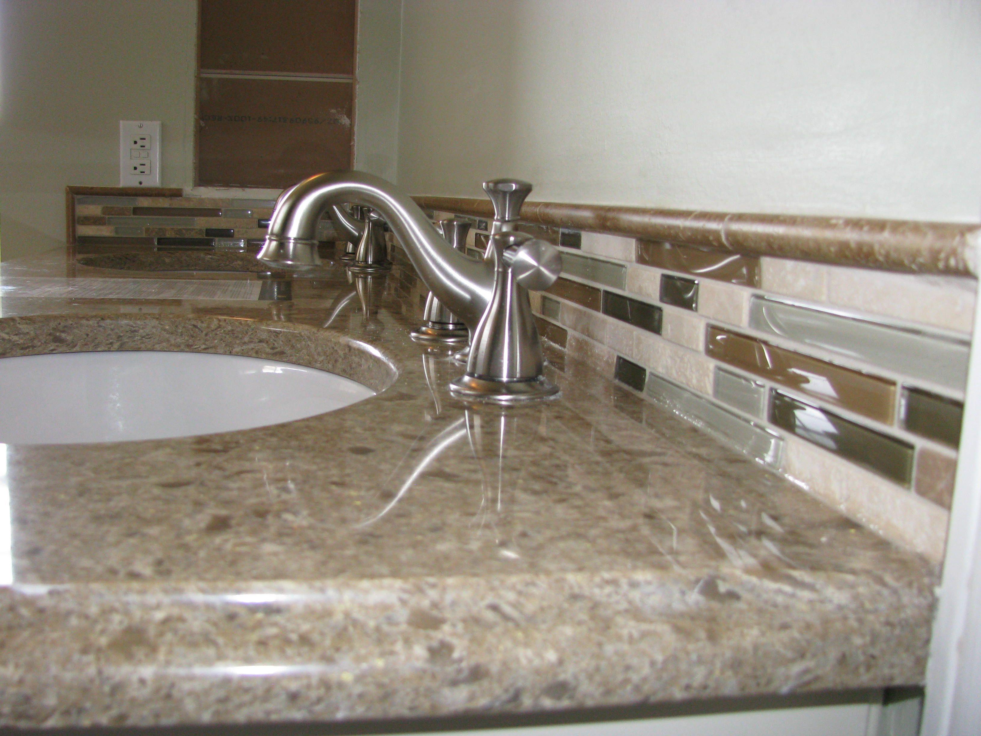 backsplash bathroom ideas. Bathroom Decorations ~ Fancy Backsplash Texture And Color Inspiring Ideas: Stylish Single Sink Stainless Harlon Low Arc Faucet On Gray Ideas S