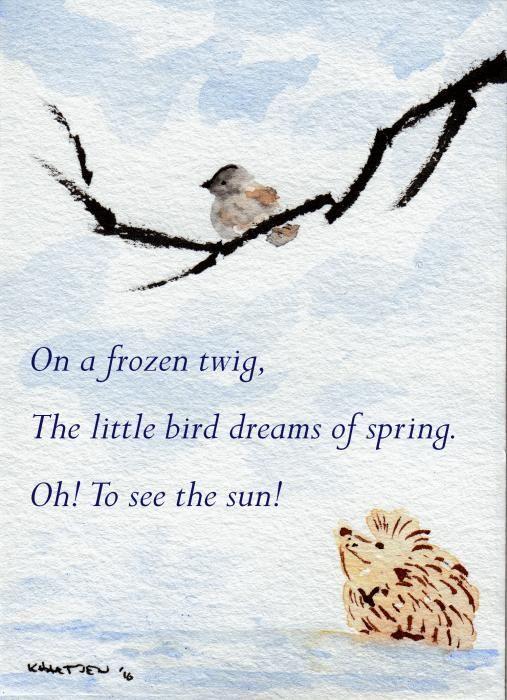 Dreaming Of Spring Hedgehog Haiku 5 Painting By Kerry Hartjen