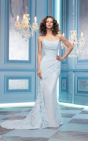 Spaghetti Träger Kapelle Schleppe Meerjungfrau legeres romantisches Brautkleid