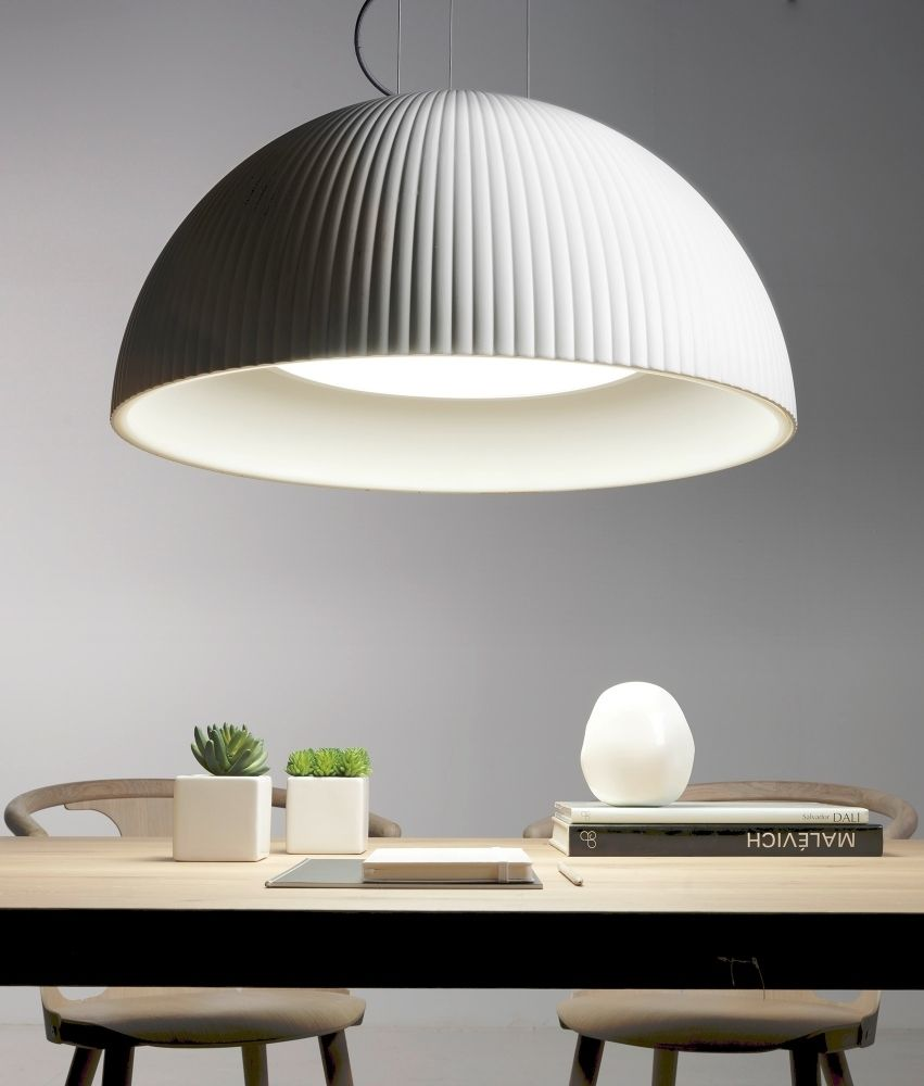White Ribbed Detailing Colour Changing Led Dome Pendant