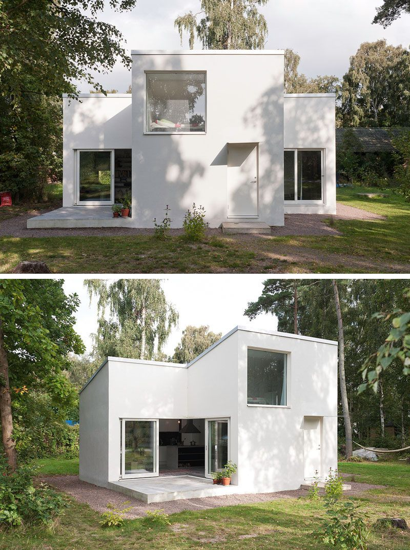 11 Small Modern House Designs // The bright white color of this small summer house makes it stand out against the greenery of the surrounding area and gives ... & 11 Small Modern House Designs From Around The World | Pinterest ...