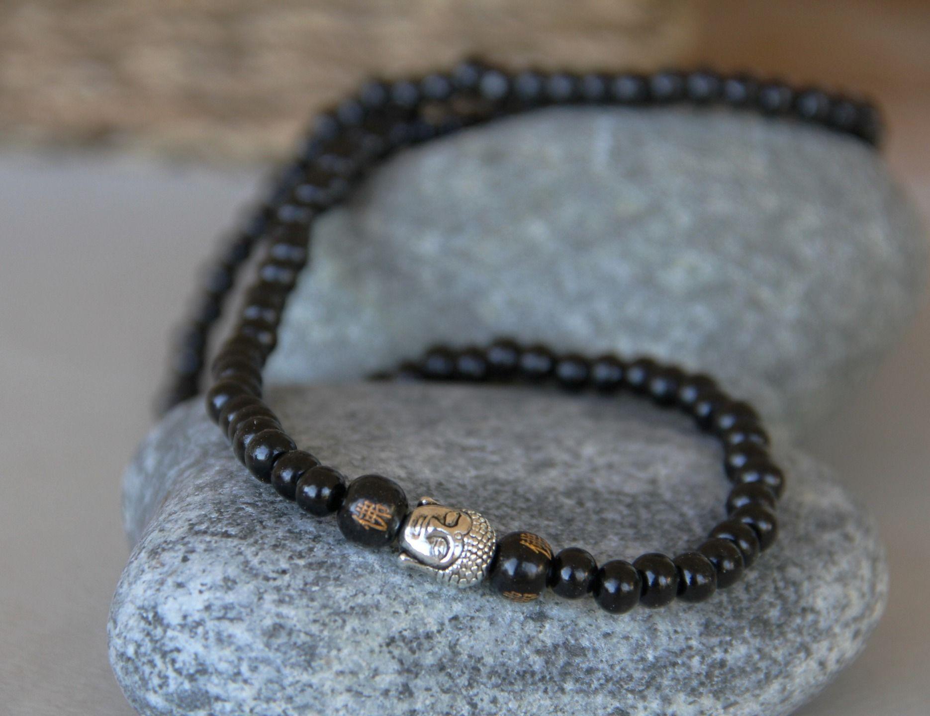 classcic qualité authentique bébé collier homme mala bouddhiste perles de bois d'ébène ...