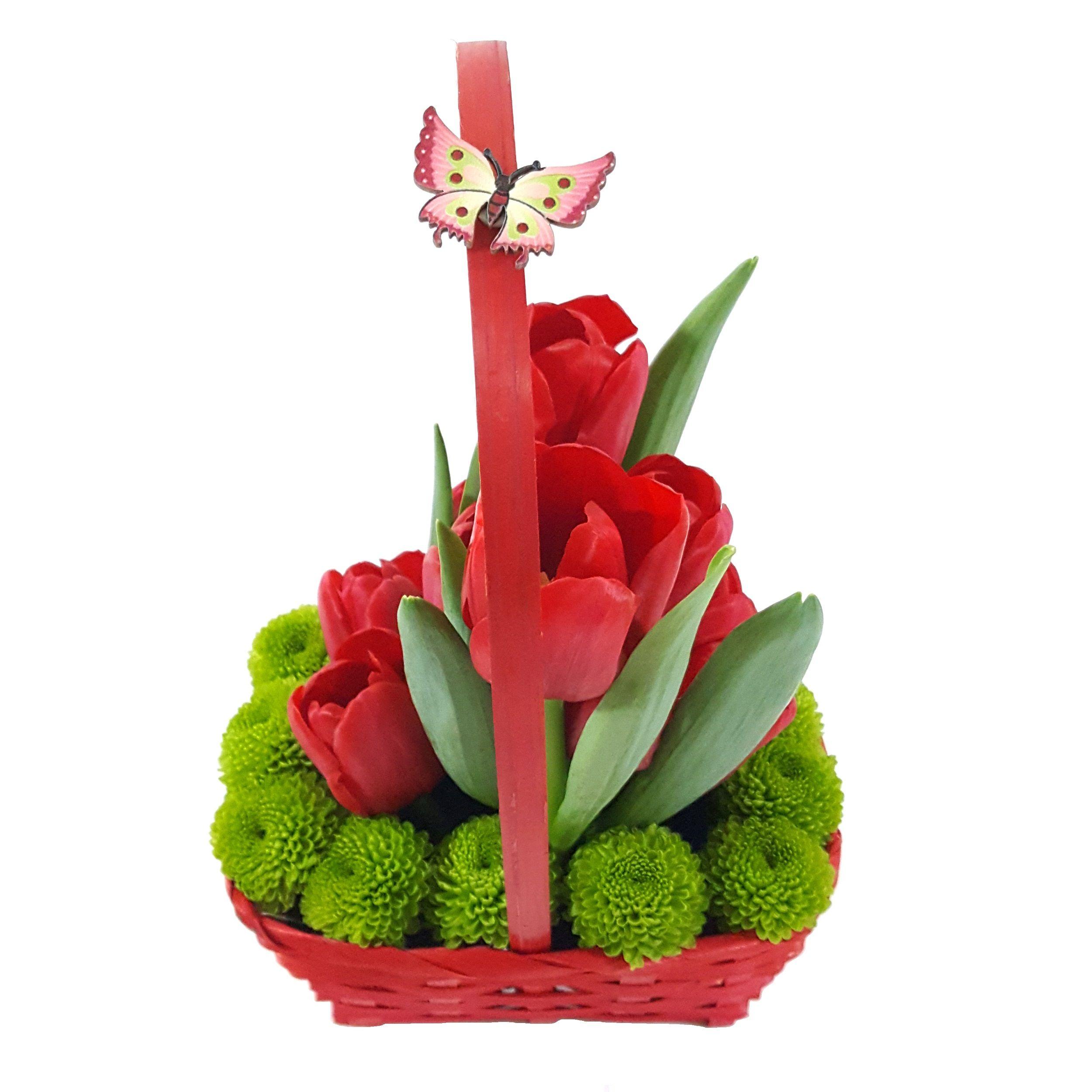 Aranjament Floral Cosulet Cu Lalele Rosii Aranjamente Florale