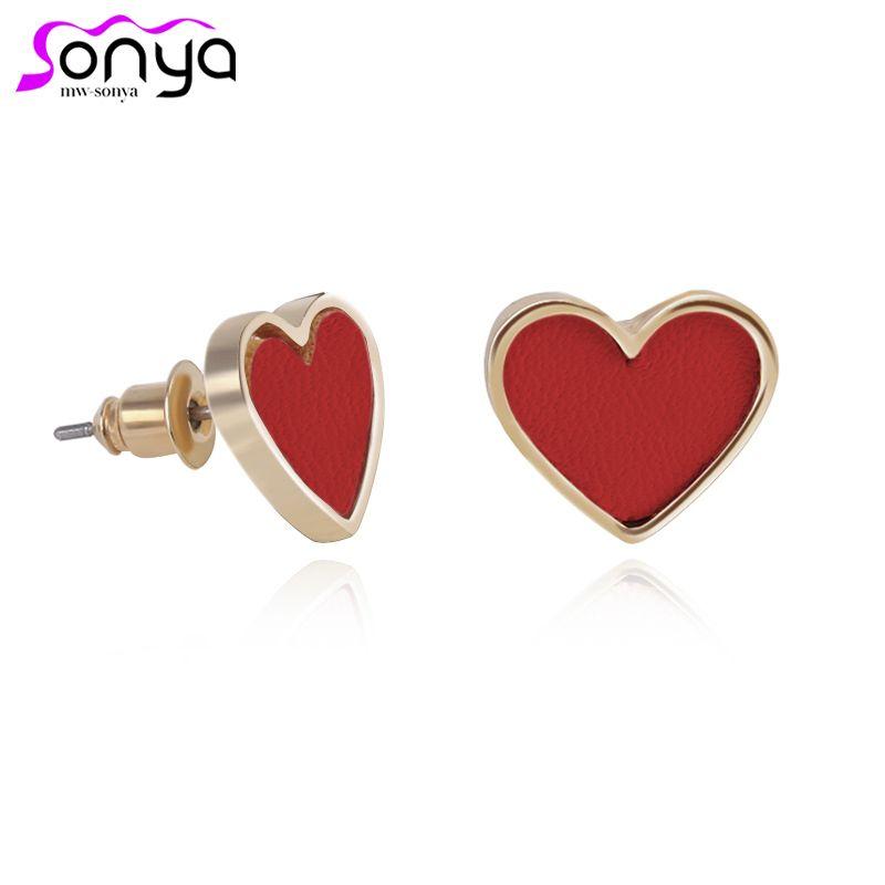 MWSONYA Red Hearts Stud Earrings for Women 3 Colors Fashion Design Female Ear Accessories EA369