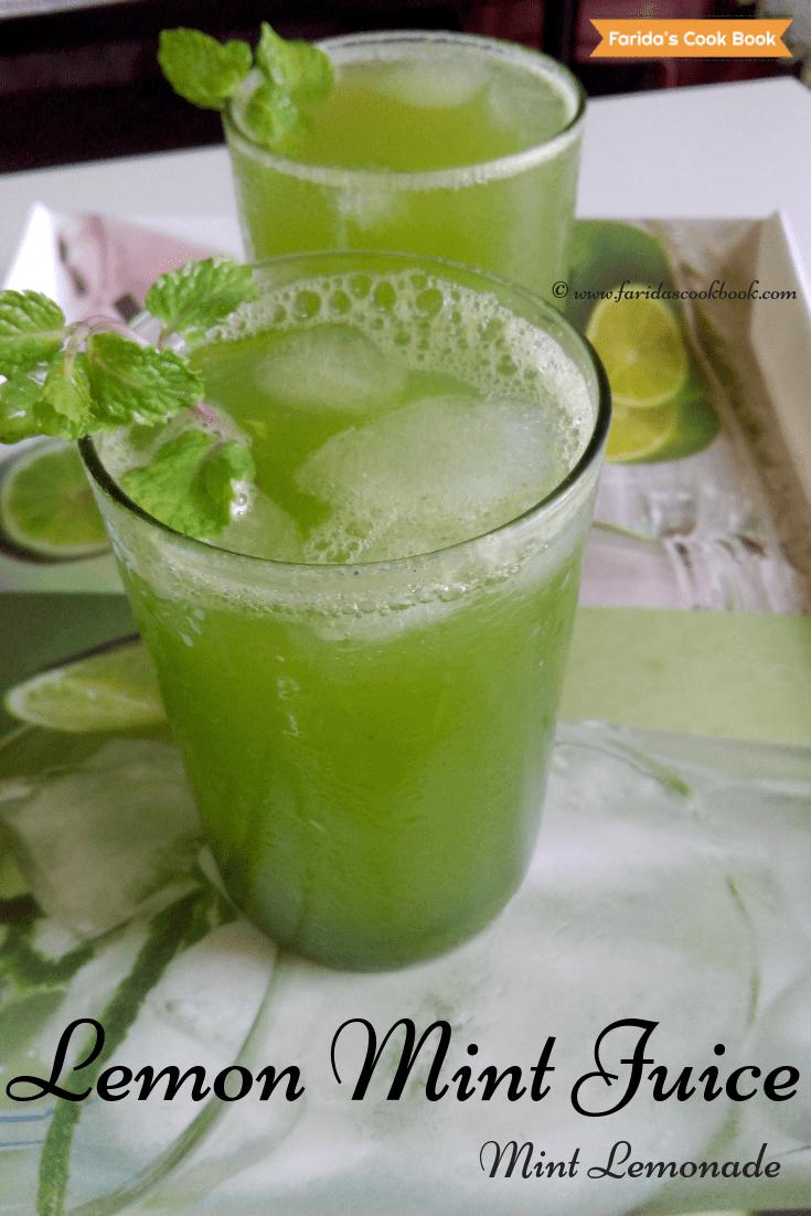 lemon mint juice | mint lemonade | pudina | lemon mint drink in 5 minutes - Faridas Cook Book #mintdrink