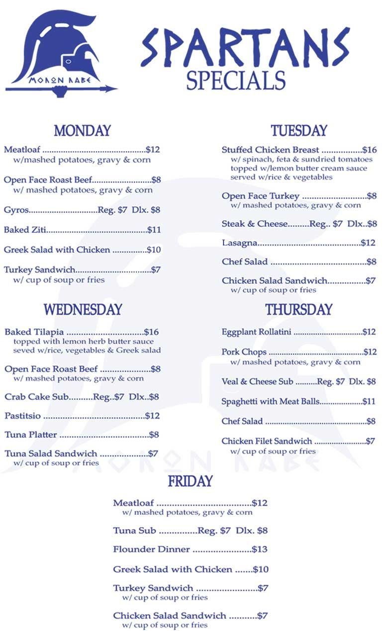 Weekly Menu Specials Spartans Family Restaurant address