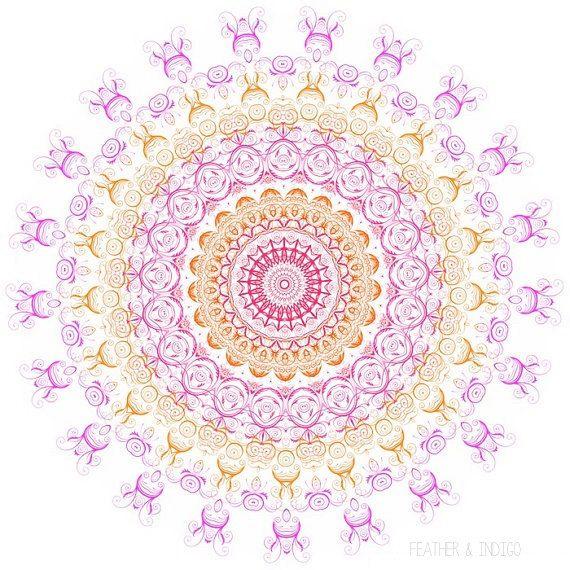 Bright wall art print mandala art hot pink artwork white neon pink ...
