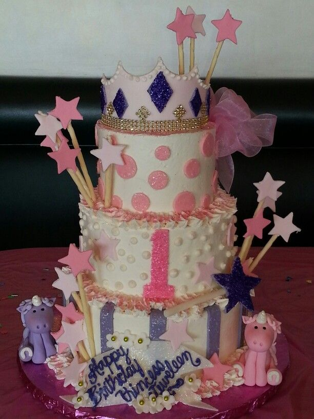My Daughters First Birthday Unicorn Princess Cake First