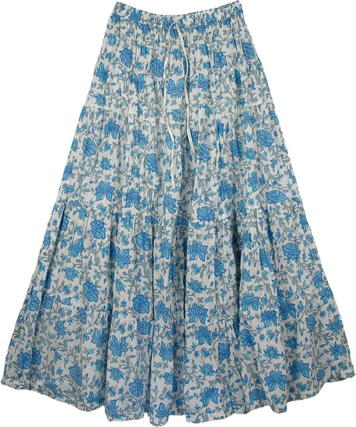 Blue Floral Cotton Printed Long Skirt, Hydrangea Blue Cotton Long ...