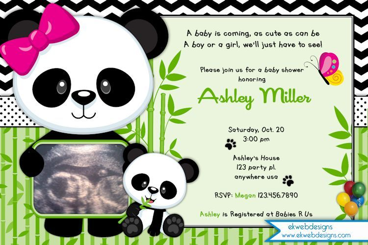 Panda Baby Shower Invitation Bear