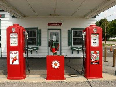 Vintage gas pumps on Route 66, Dwight Illinois (Scarborough photo)