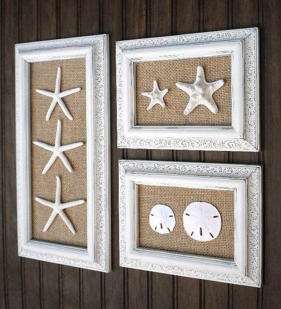 Trio Of Coastal Wall Decor Cottage Chic Framed Starfish Wall Art Dorm Wall Art Beach Wall Art Sea Shells Home Decor Modern Vintage Look Decoracao Interior Facil Decoracao Litoranea Decoracao