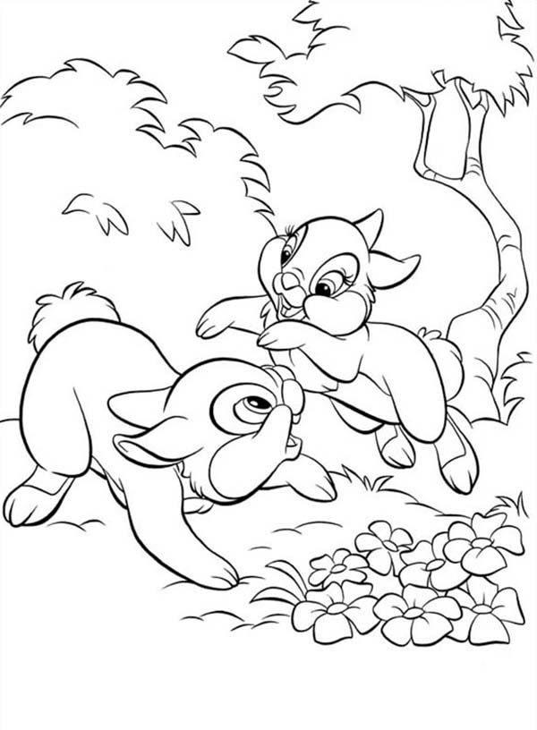 Thumper Coloring Pages For Girls Thumper Playing Thumper Coloring Pages