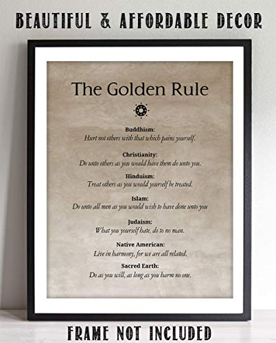 Amazon Com The Golden Rule In Many Religions 8 X 10 Print Wall Decor Wall Art Ready To Frame Parchment Sign Print In 2020 Wall Art Decor Sign Printing Wall Art