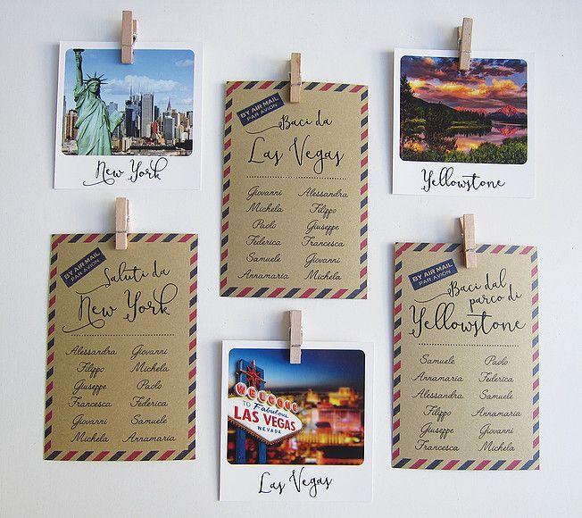 Matrimonio Tema Polaroid : Tableau tema viaggio cartoncini a cartolina e segnatavoli