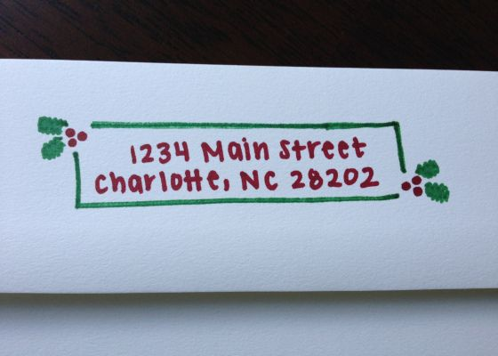 Addressed Christmas Cards.Hand Addressed Return Address Holiday Christmas Cards With